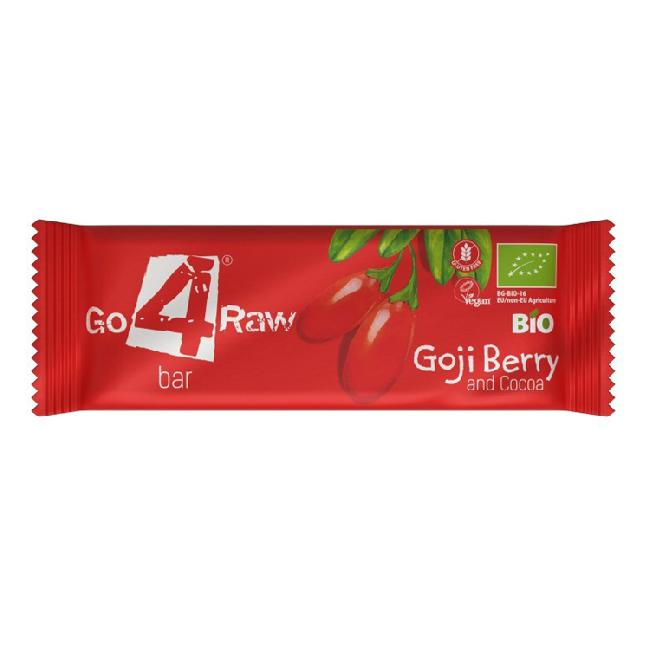 Baton din fructe cu goji si cacao, bio, GO 4 RAW, 25g