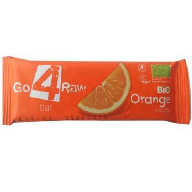 Baton din fructe cu portocale si chia, bio, GO 4 RAW, 25g